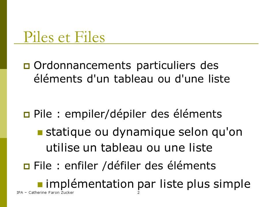 Piles et Files Ordonnancements particuliers des éléments d un tableau ou d une liste. Pile : empiler/dépiler des éléments.