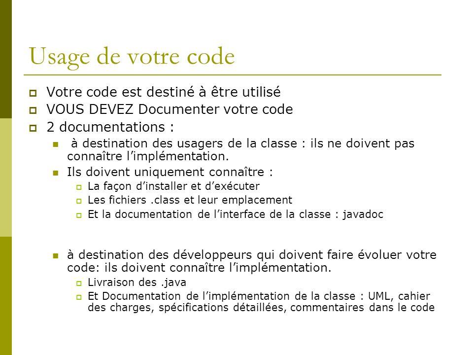 Usage de votre code Votre code est destiné à être utilisé