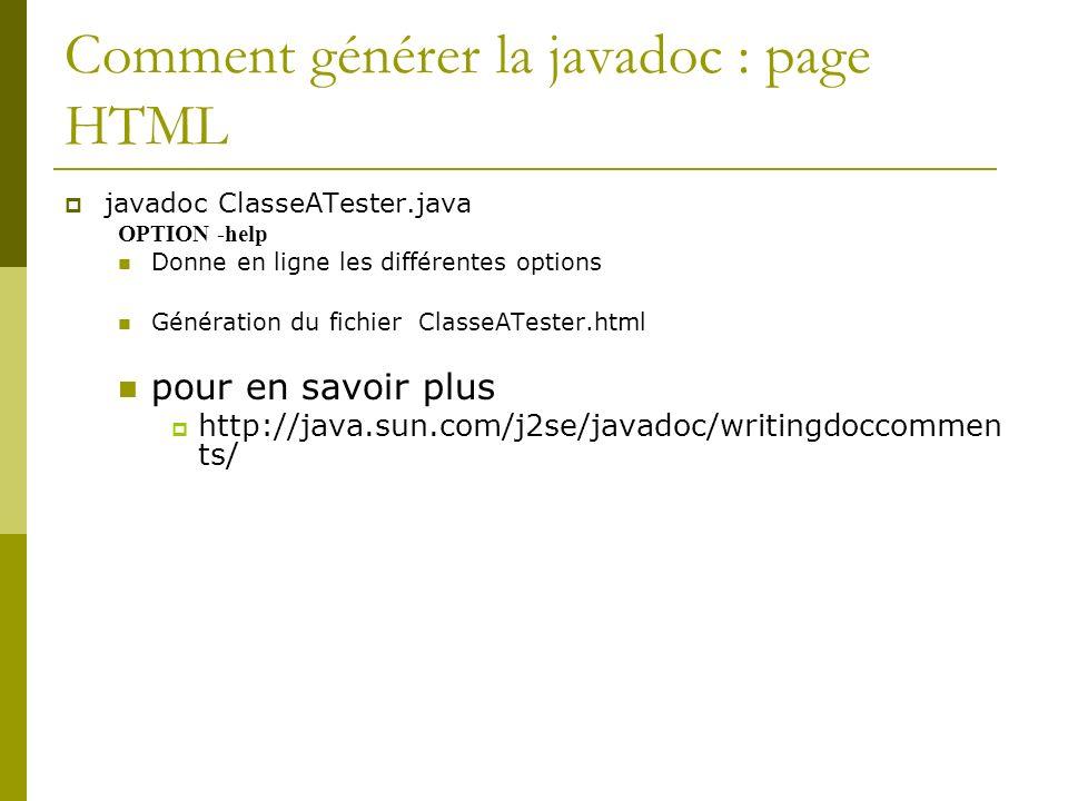 Comment générer la javadoc : page HTML