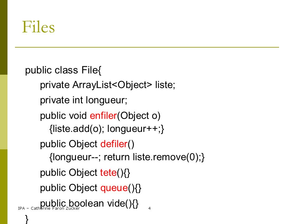 Files public class File{ } private ArrayList<Object> liste;