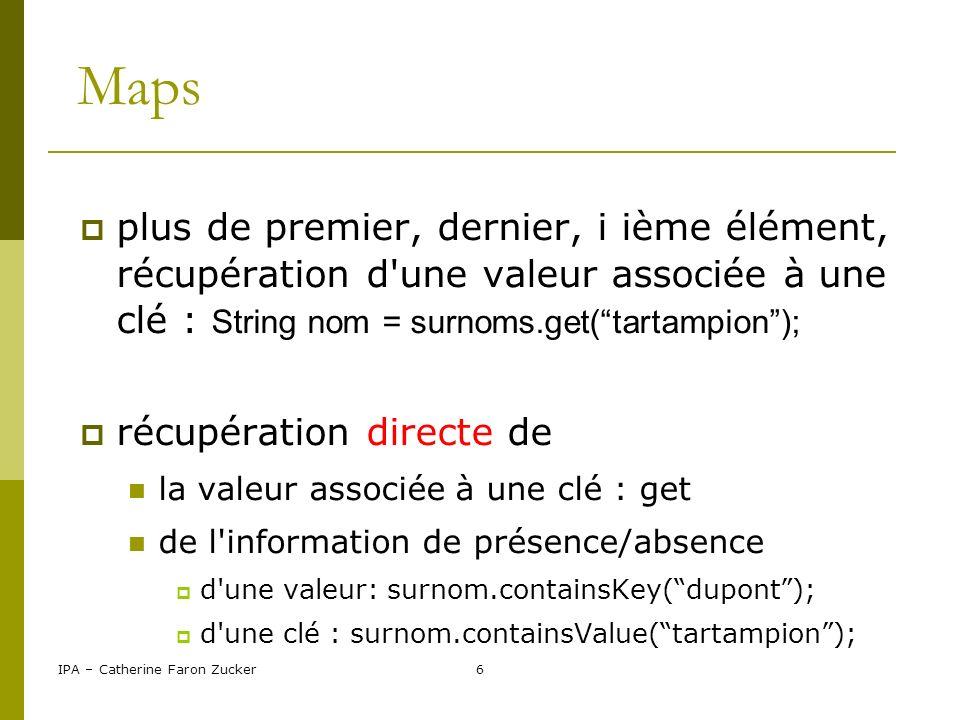 Maps plus de premier, dernier, i ième élément, récupération d une valeur associée à une clé : String nom = surnoms.get( tartampion );