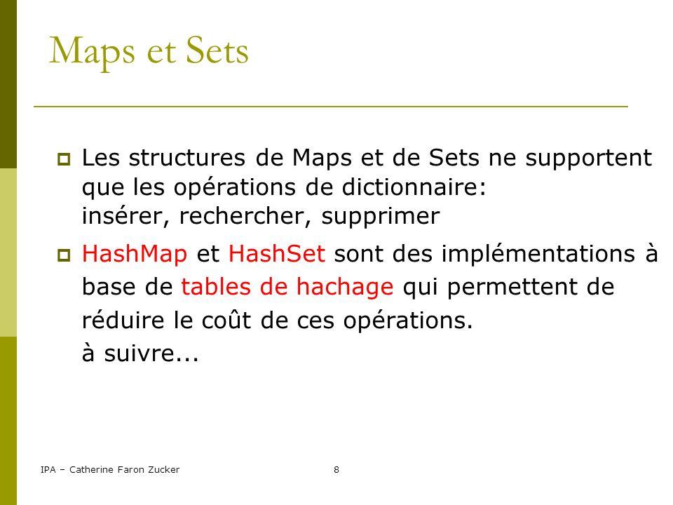 Maps et Sets Les structures de Maps et de Sets ne supportent que les opérations de dictionnaire: insérer, rechercher, supprimer.