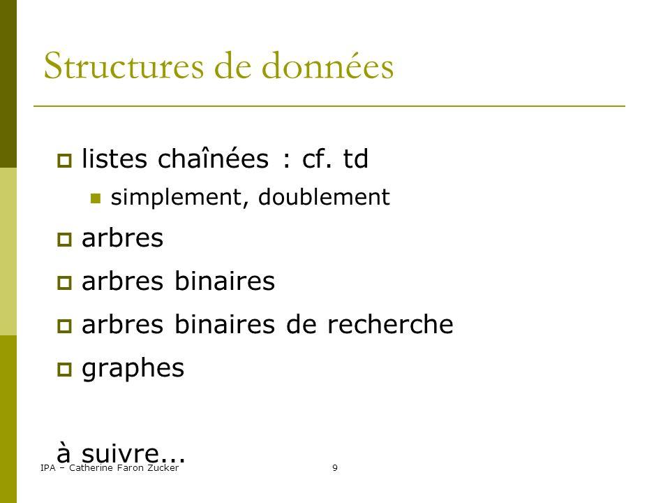 Structures de données listes chaînées : cf. td arbres arbres binaires