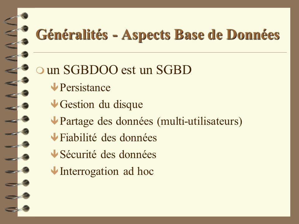 Généralités - Aspects Base de Données