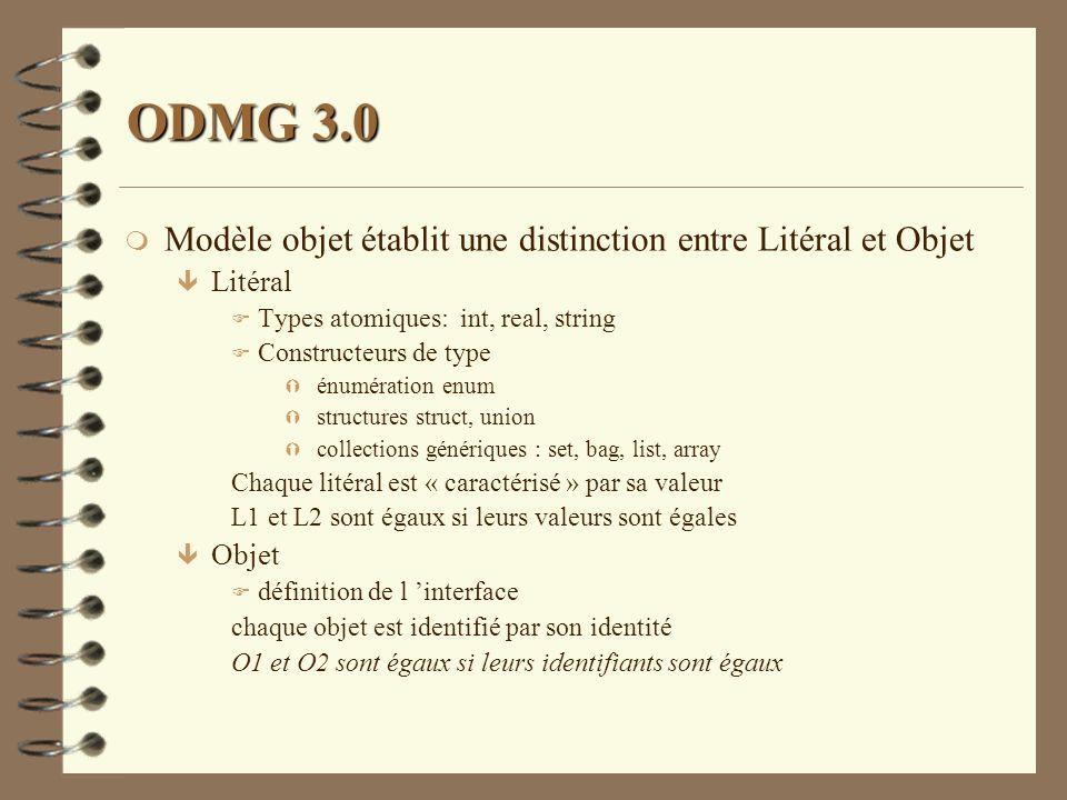 ODMG 3.0 Modèle objet établit une distinction entre Litéral et Objet