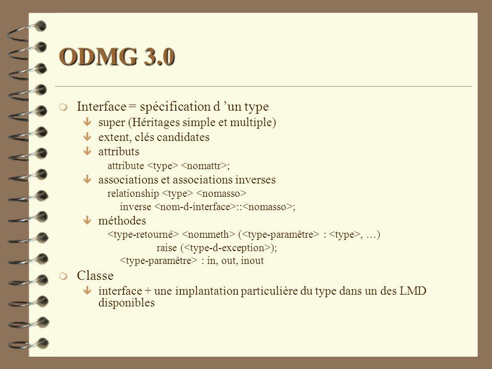 ODMG 3.0 Interface = spécification d 'un type Classe
