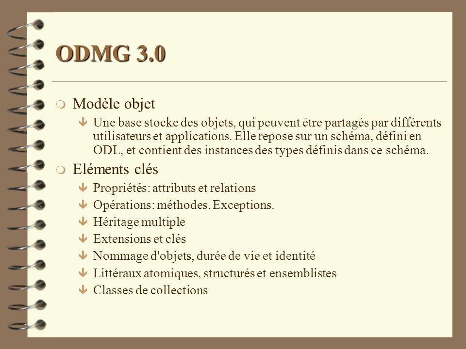 ODMG 3.0 Modèle objet Eléments clés