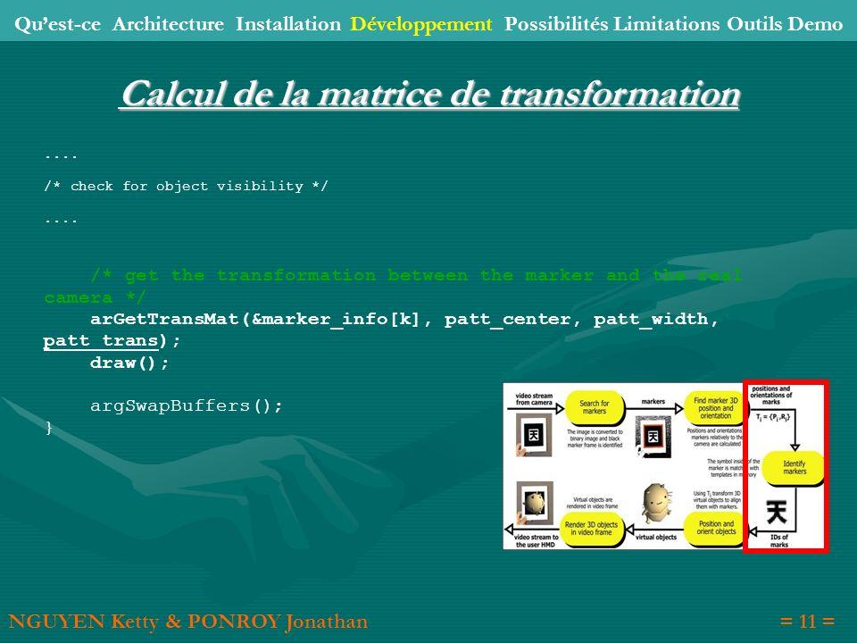 Calcul de la matrice de transformation