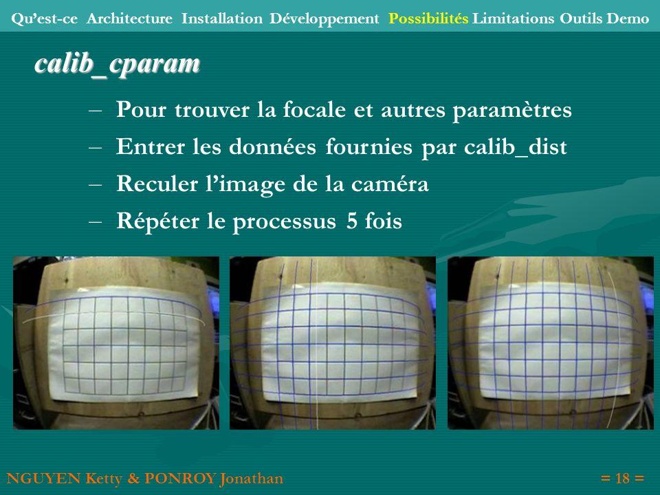 calib_cparam Pour trouver la focale et autres paramètres