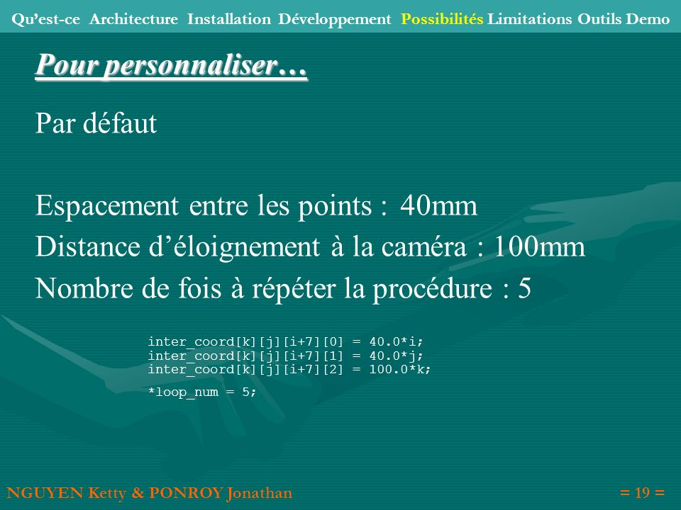 Espacement entre les points : 40mm