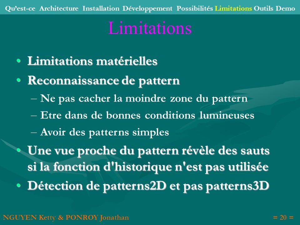 Limitations Limitations matérielles Reconnaissance de pattern