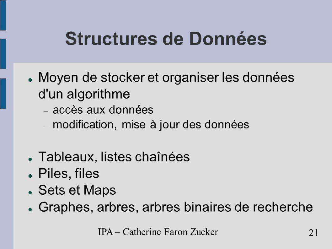 Structures de Données Moyen de stocker et organiser les données d un algorithme. accès aux données.