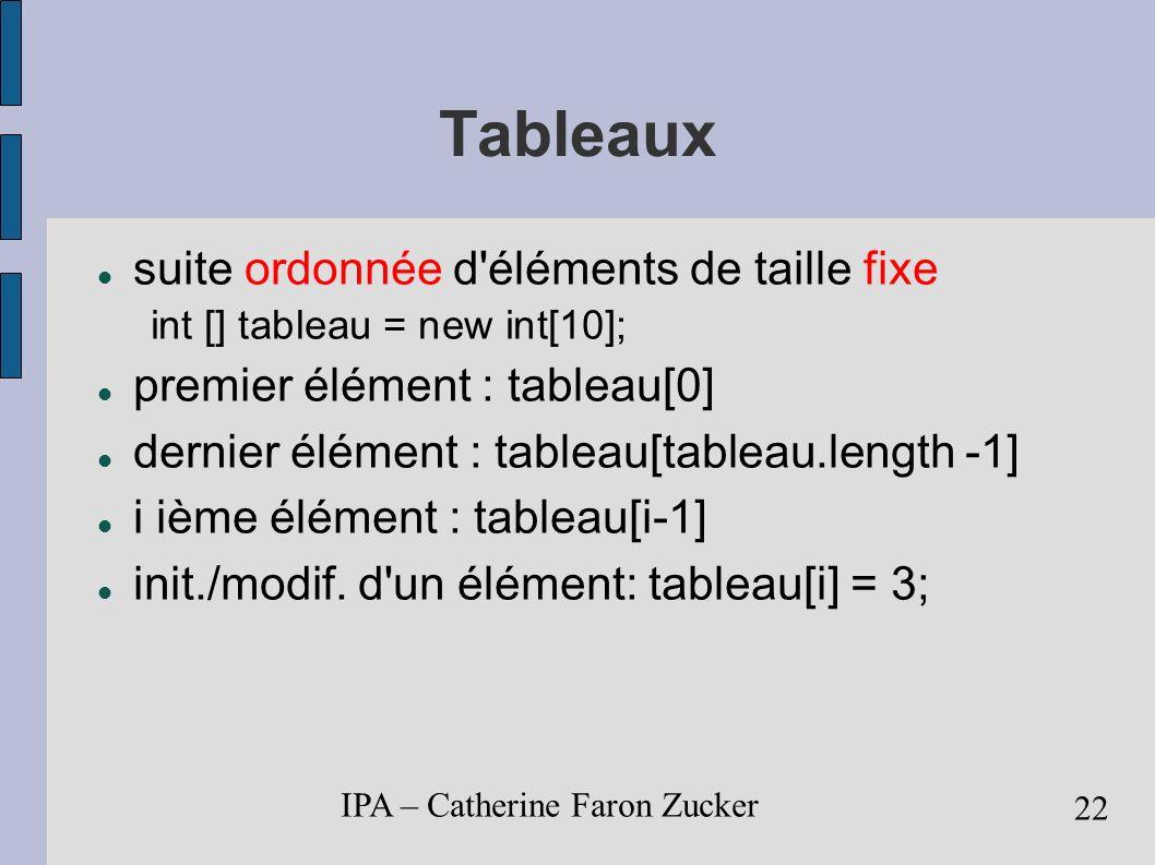 Tableaux suite ordonnée d éléments de taille fixe