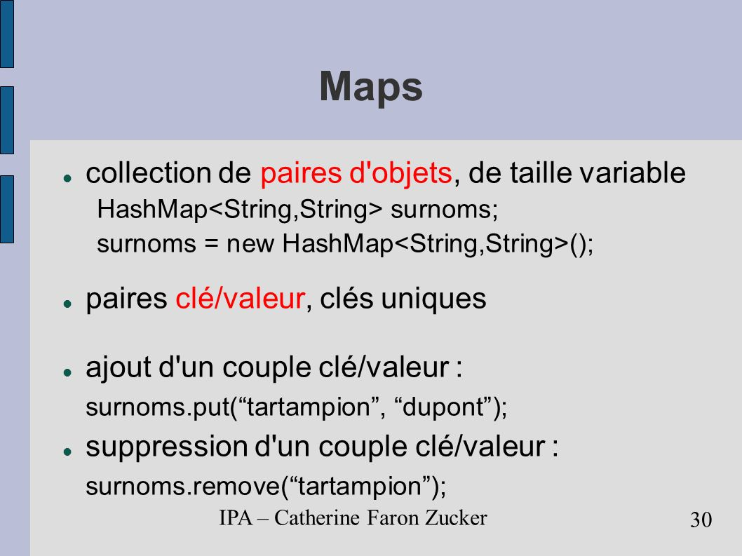 Maps collection de paires d objets, de taille variable