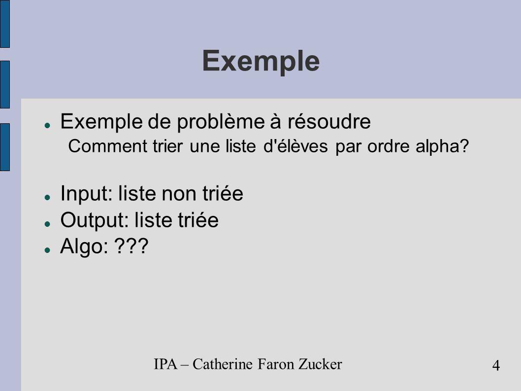 Exemple Exemple de problème à résoudre Input: liste non triée