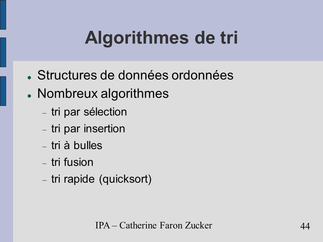 Algorithmes de tri Structures de données ordonnées