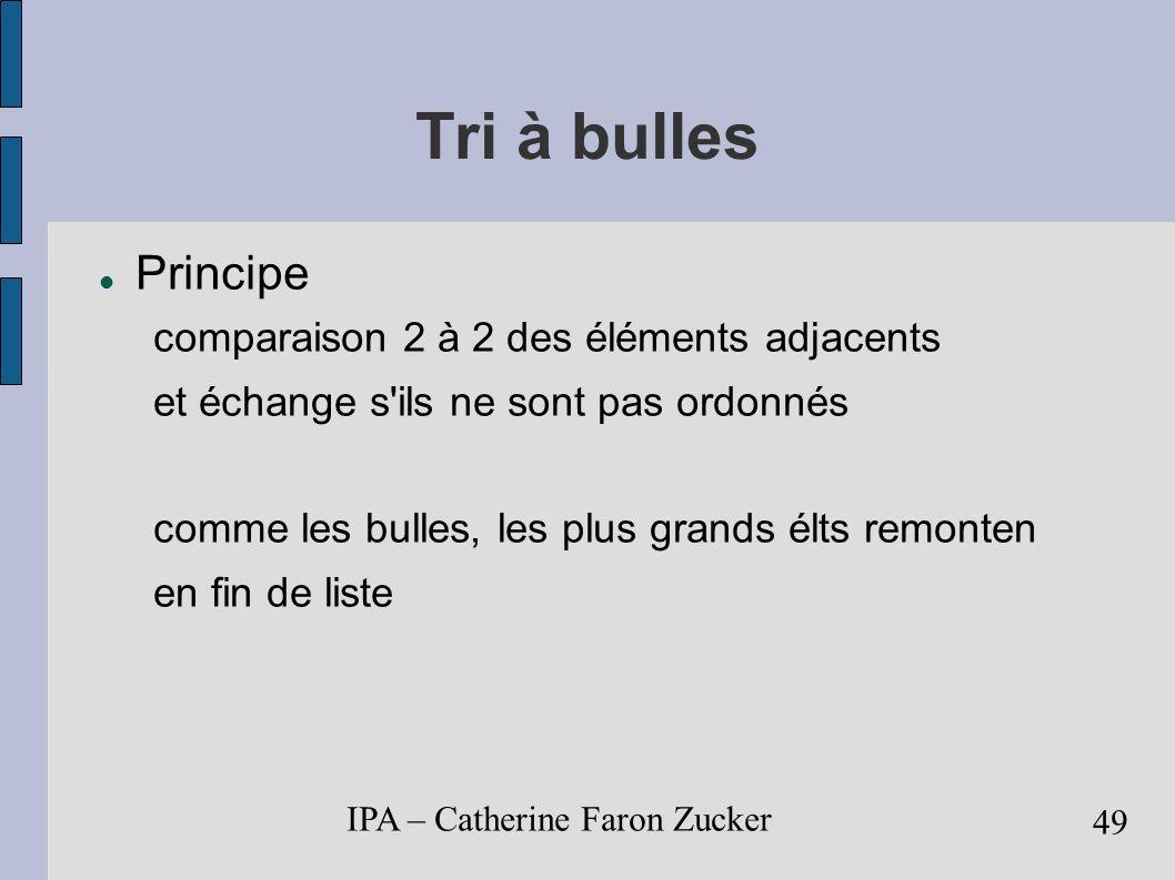 Tri à bulles Principe comparaison 2 à 2 des éléments adjacents