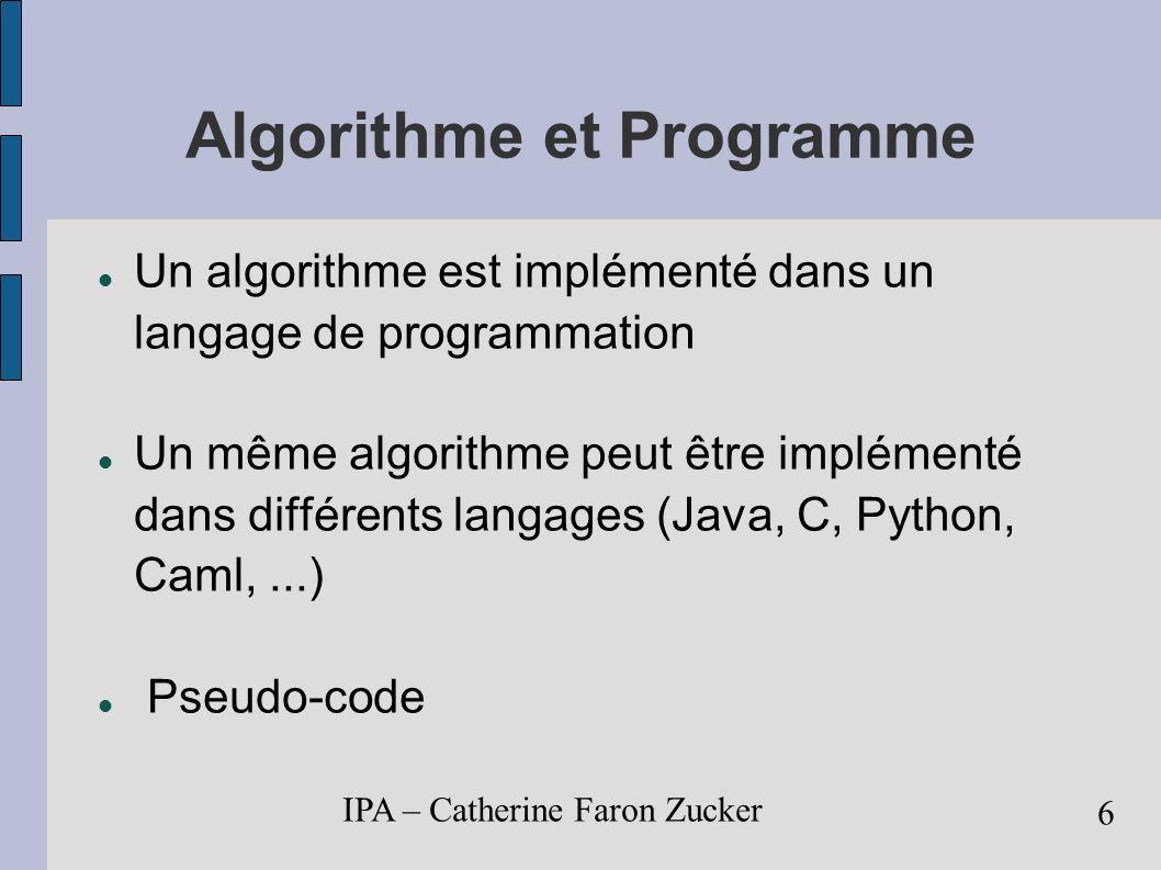 Algorithme et Programme