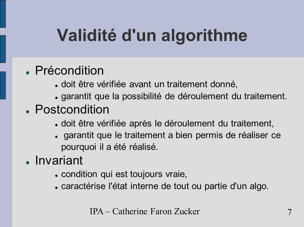 Validité d un algorithme