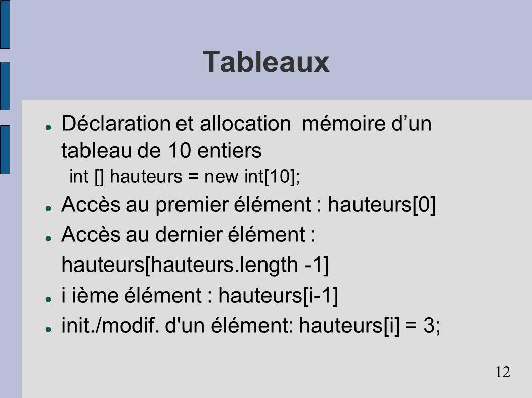 Tableaux Déclaration et allocation mémoire d'un tableau de 10 entiers