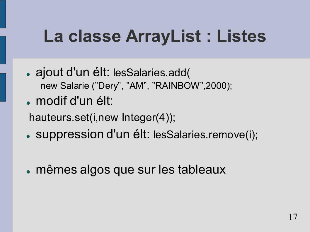 La classe ArrayList : Listes