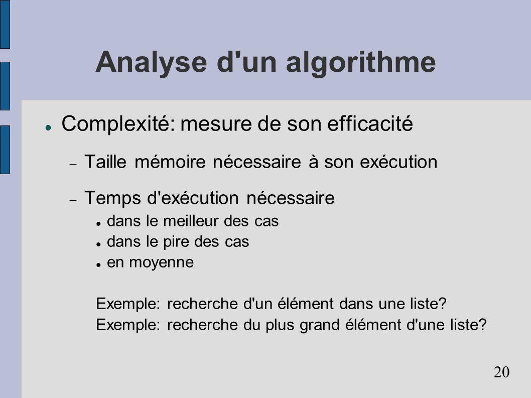 Analyse d un algorithme