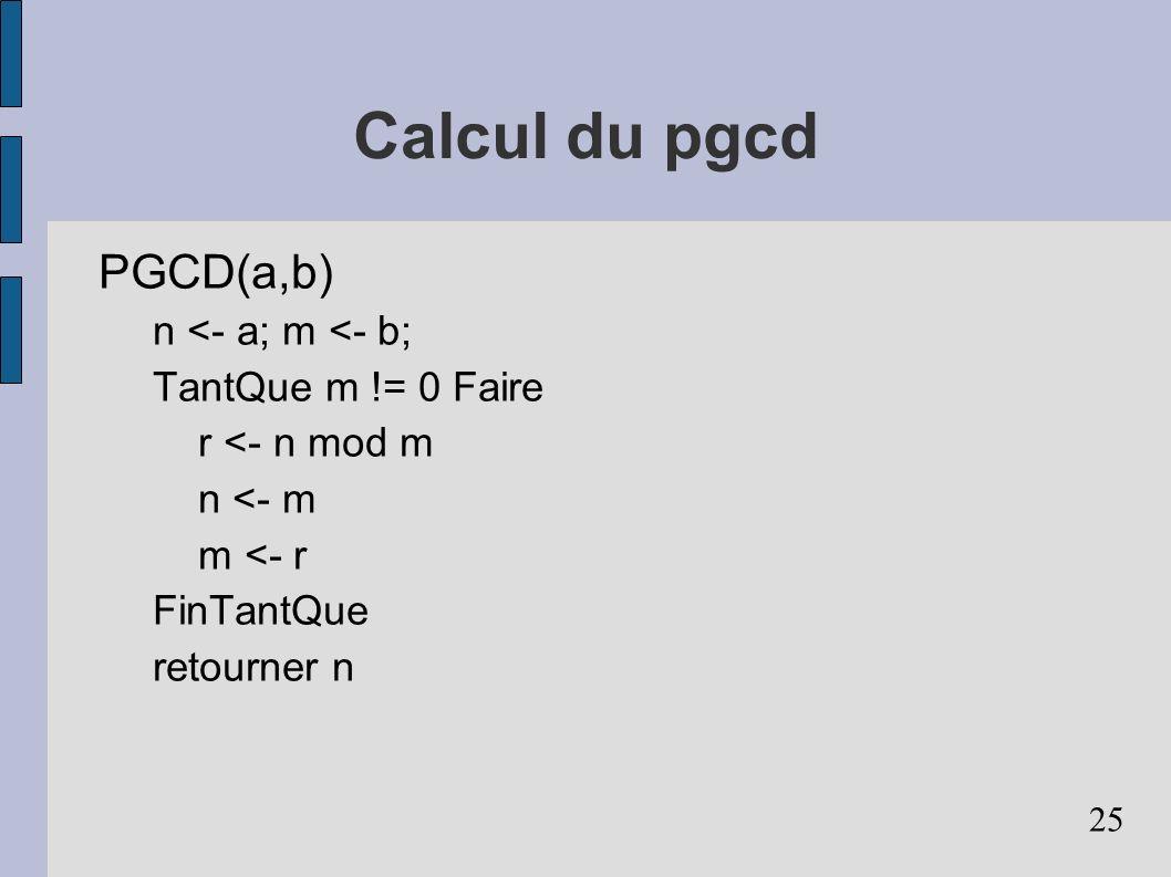 Calcul du pgcd PGCD(a,b) n <- a; m <- b; TantQue m != 0 Faire