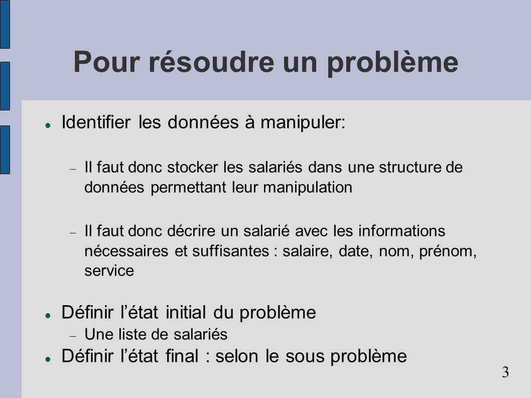 Pour résoudre un problème