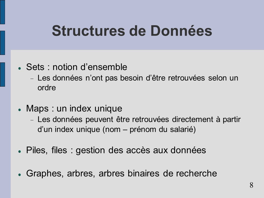 Structures de Données Sets : notion d'ensemble Maps : un index unique