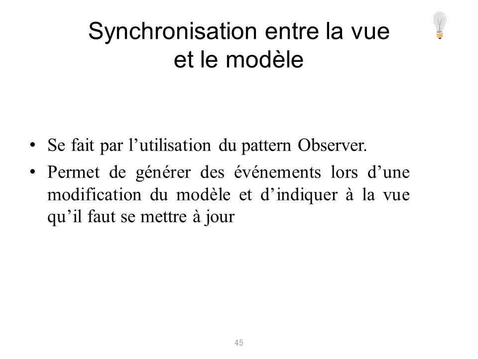 Synchronisation entre la vue et le modèle