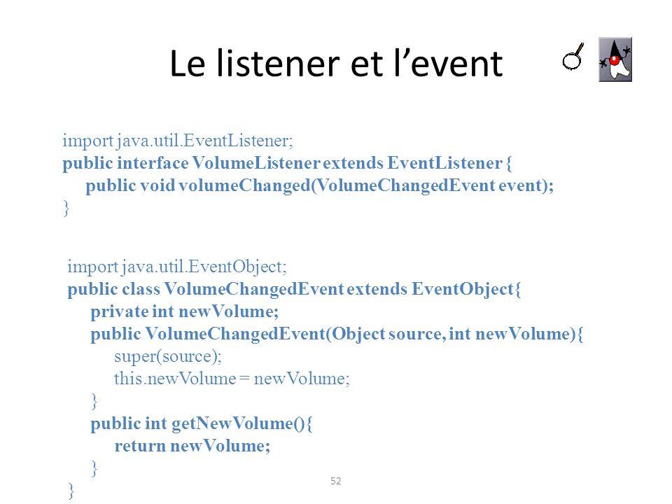Le listener et l'event import java.util.EventListener;