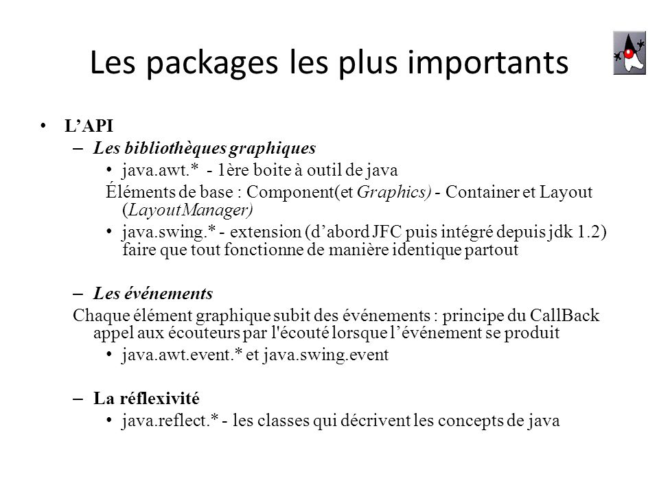 Les packages les plus importants