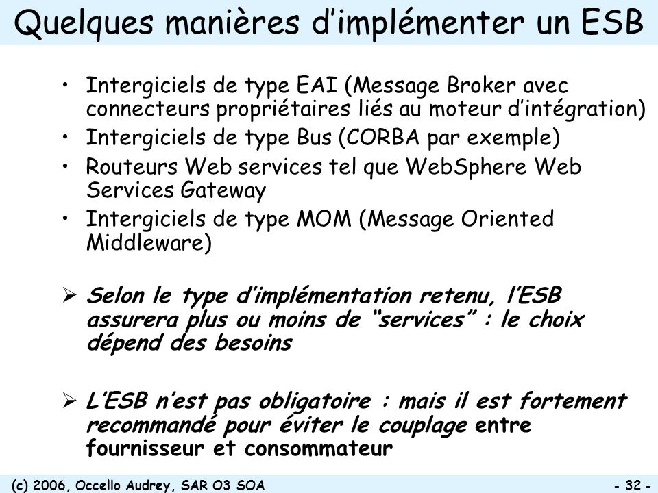 Quelques manières d'implémenter un ESB