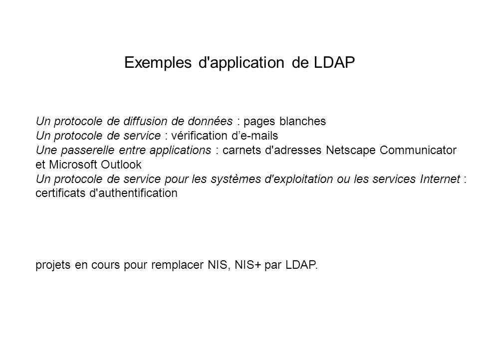 Exemples d application de LDAP
