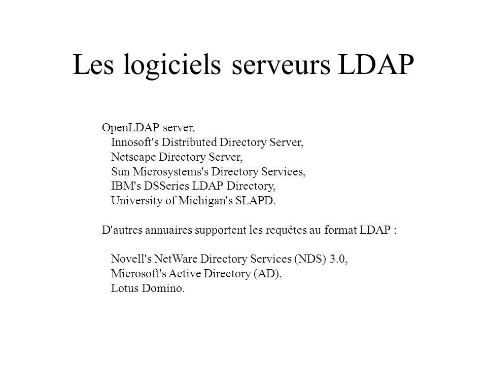 Les logiciels serveurs LDAP