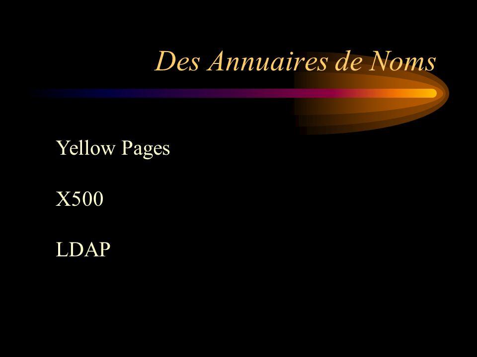 Des Annuaires de Noms Yellow Pages X500 LDAP