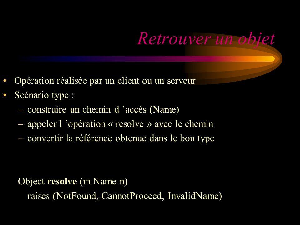 Retrouver un objet Opération réalisée par un client ou un serveur