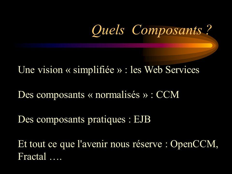 Quels Composants Une vision « simplifiée » : les Web Services