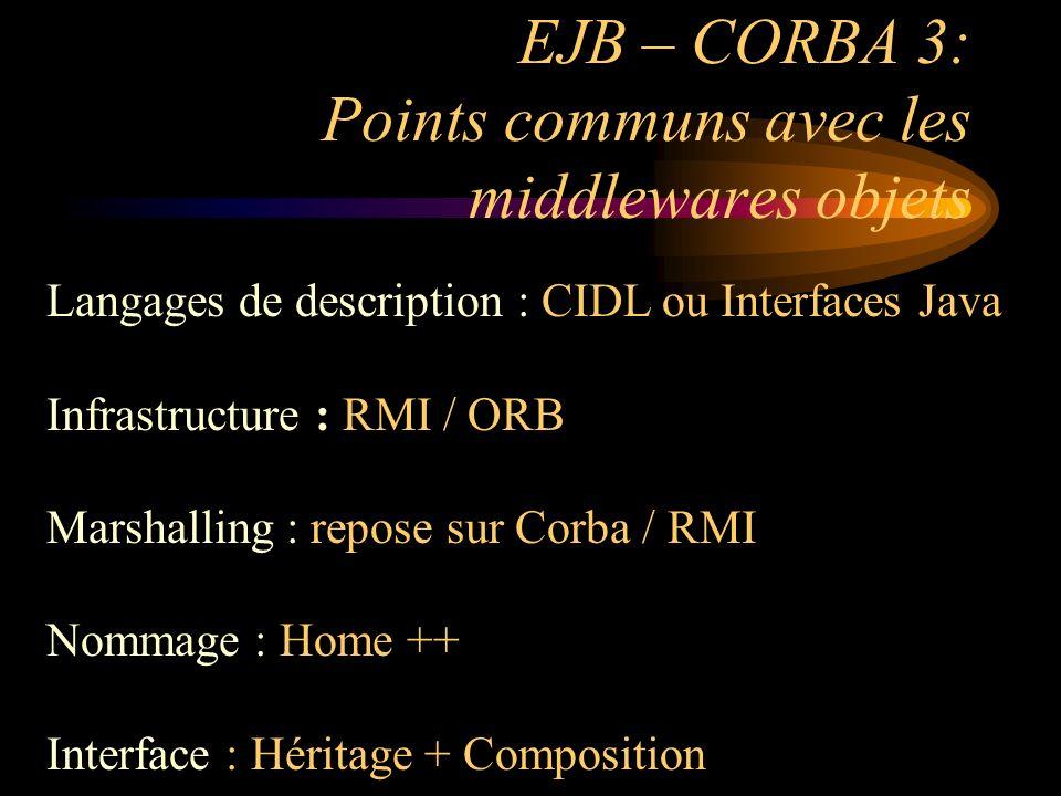 EJB – CORBA 3: Points communs avec les middlewares objets