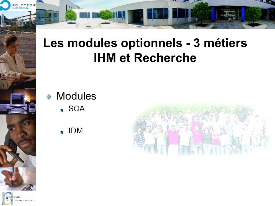 Les modules optionnels - 3 métiers IHM et Recherche