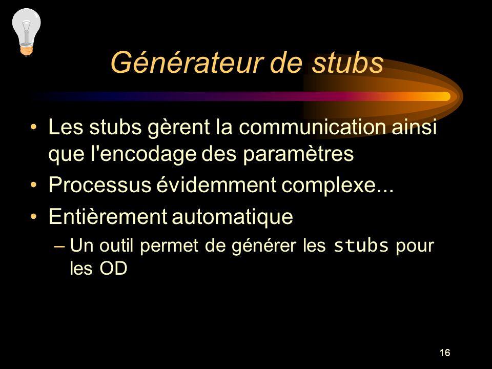 Générateur de stubs Les stubs gèrent la communication ainsi que l encodage des paramètres. Processus évidemment complexe...