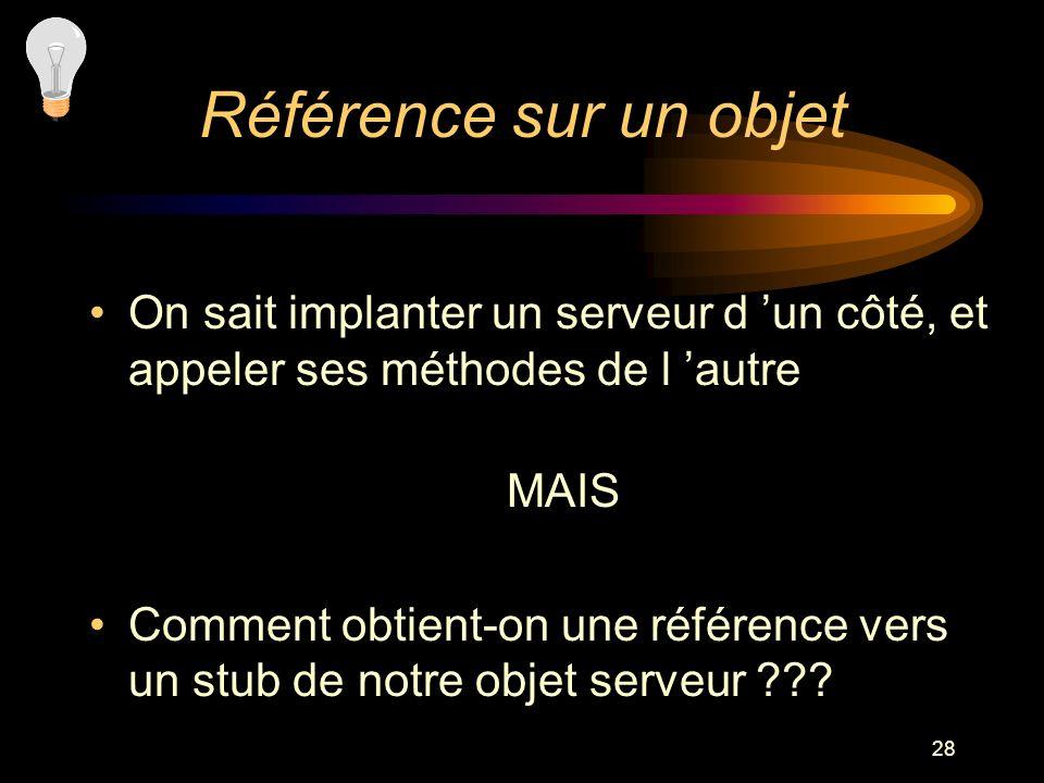 Référence sur un objet On sait implanter un serveur d 'un côté, et appeler ses méthodes de l 'autre.