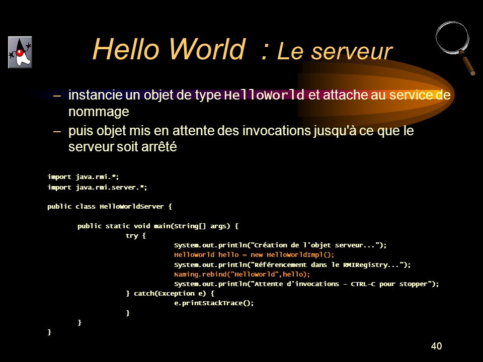 Hello World : Le serveur