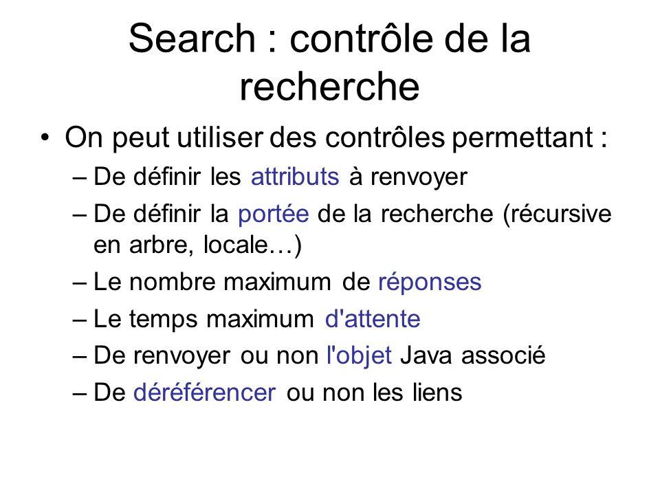 Search : contrôle de la recherche