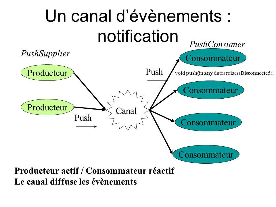Un canal d'évènements : notification