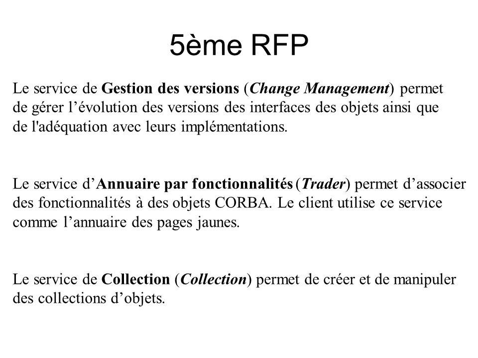 5ème RFP Le service de Gestion des versions (Change Management) permet