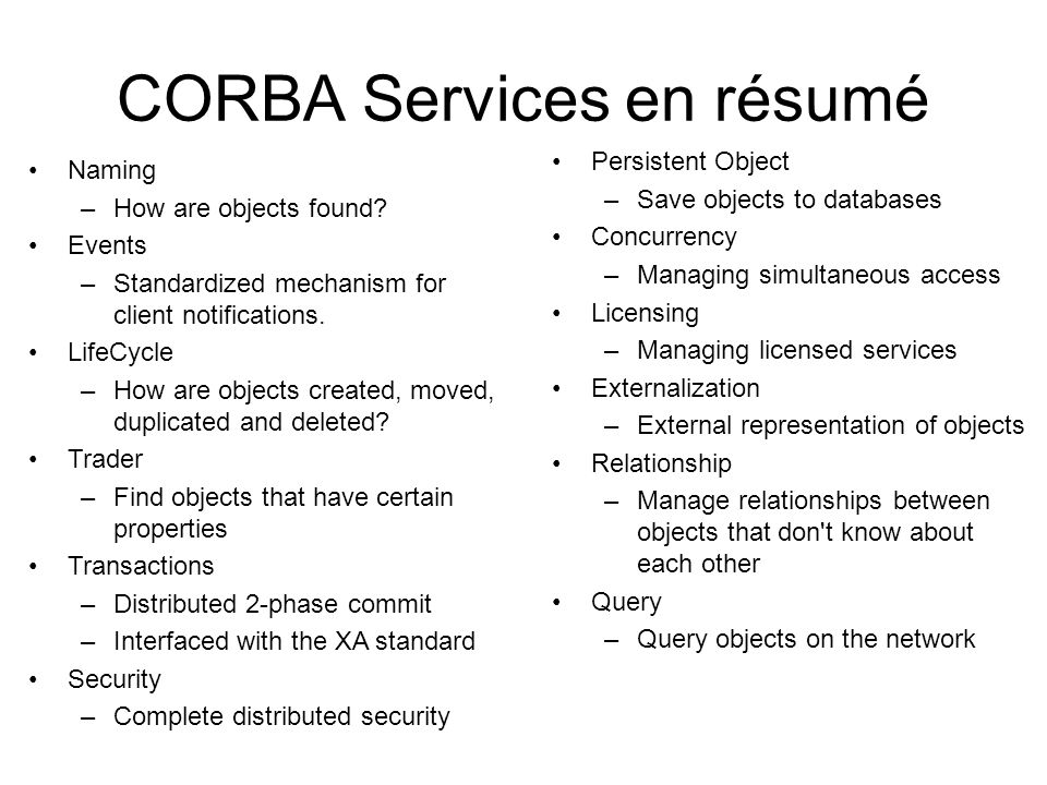 CORBA Services en résumé