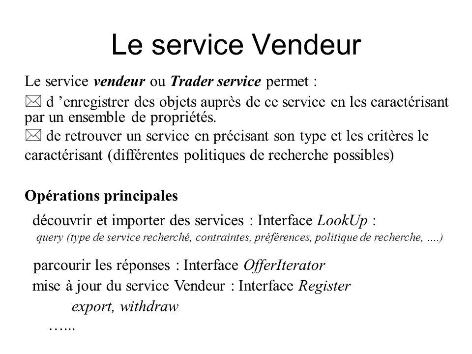 Le service Vendeur Le service vendeur ou Trader service permet :