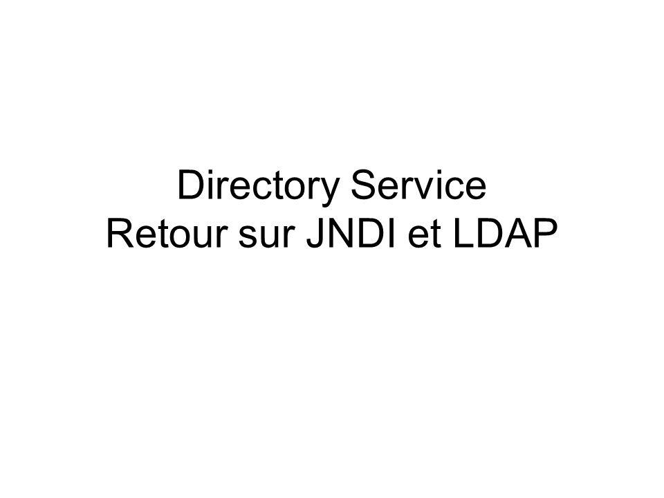 Directory Service Retour sur JNDI et LDAP