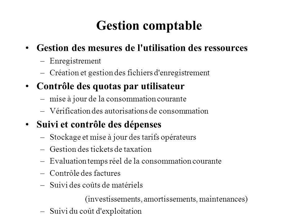 Gestion comptable Gestion des mesures de l utilisation des ressources
